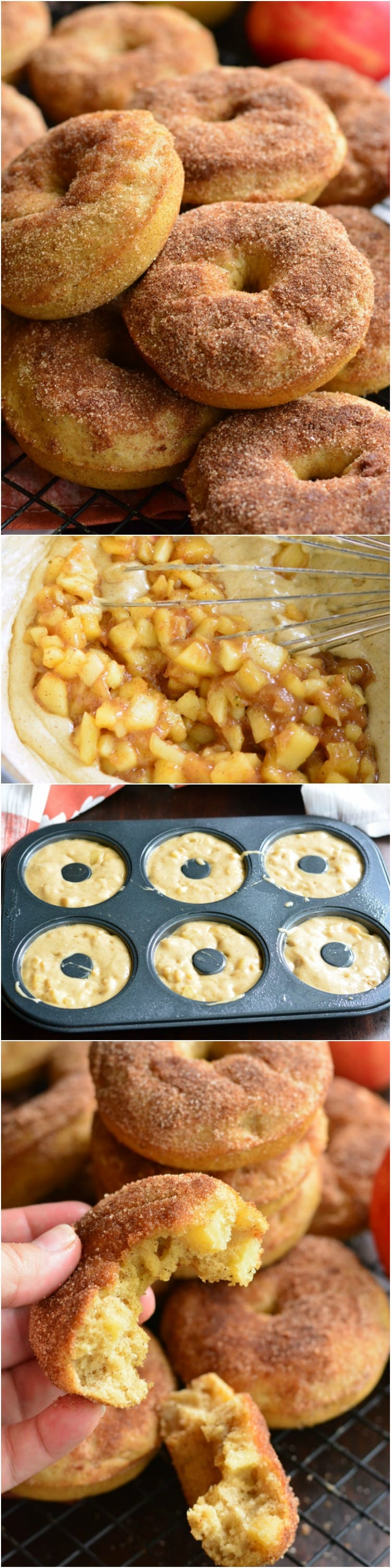 collage 1st picture of Apple Pie Baked Doughnuts stacked on cooling rack, 2nd mixture of batter and apples being whisked, 3rd donut batter in donut pan, 3rd me holding half the donut in my hand