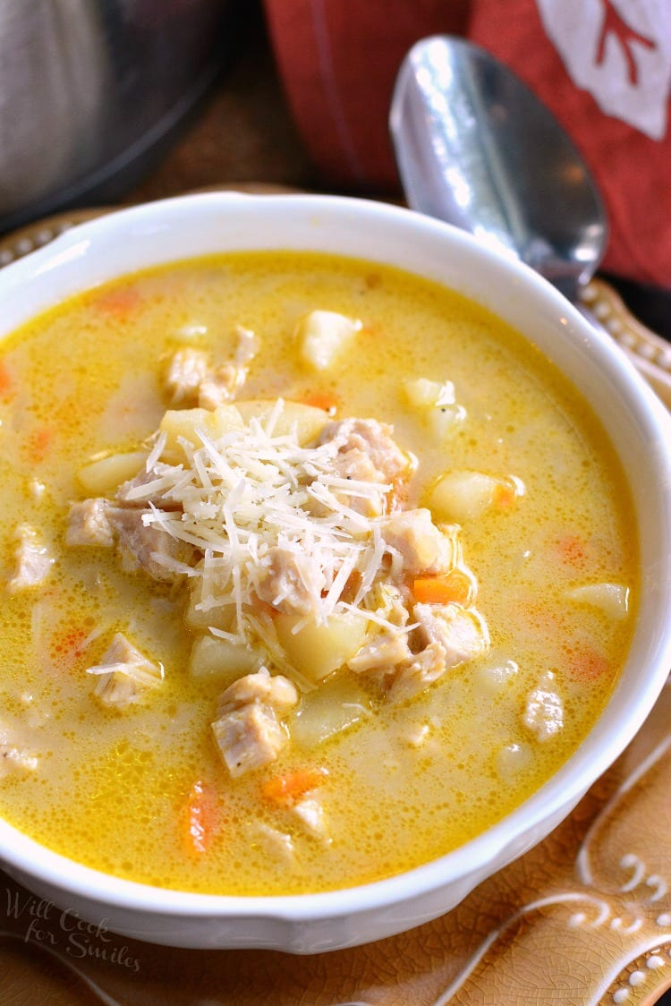 Creamy, Chunky Turkey Potato Soup. Delicious, comforting turkey potato soup that's loaded with turkey and veggies. This creamy soup is made with accents of garlic and Parmesan cheese.