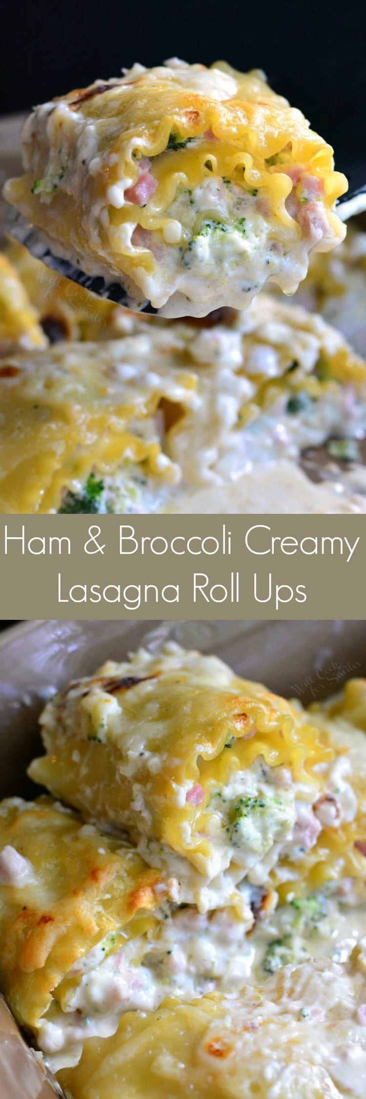 Ham and Broccoli Creamy Lasagna Roll Ups. They are made with a creamy, cheesy mixture, packed with ham and broccoli, and topped with a cheesy cream sauce.