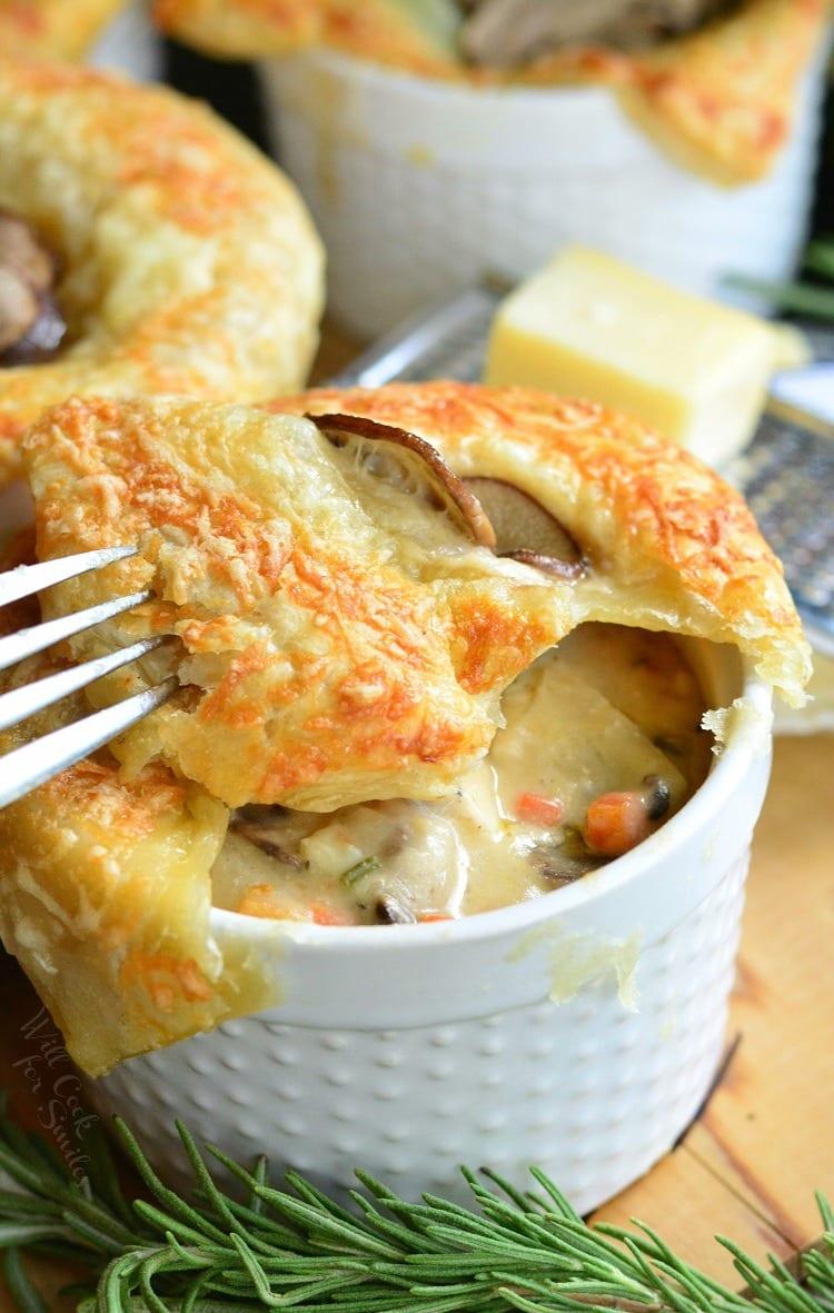 Individual Creamy Chicken and Mushroom Pot Pies. from willcookforsmiles.com