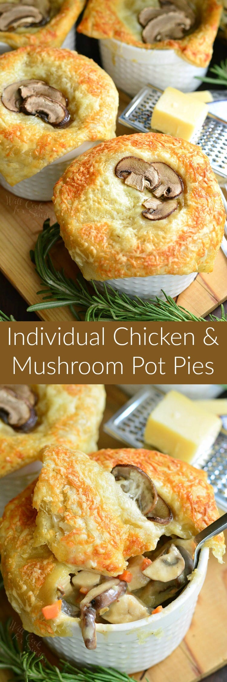 Individual Creamy Chicken and Mushroom Pot Pies. Individual, comforting pot pies are made with creamy chicken and mushroom mixture and topped with flaky puff pastry. These pot pies feature 3 types on mushrooms, pearl onions, and some fresh rosemary.