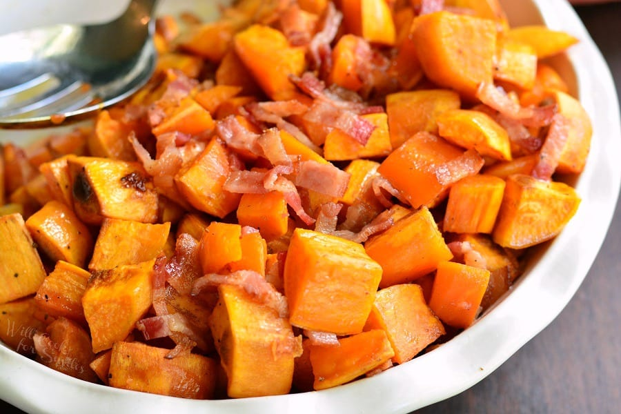 Maple Bacon Roasted Sweet Potatoes. Simple, sweet and salty side dish that's perfect for any dinner gathering. from willcookforsmiles.com