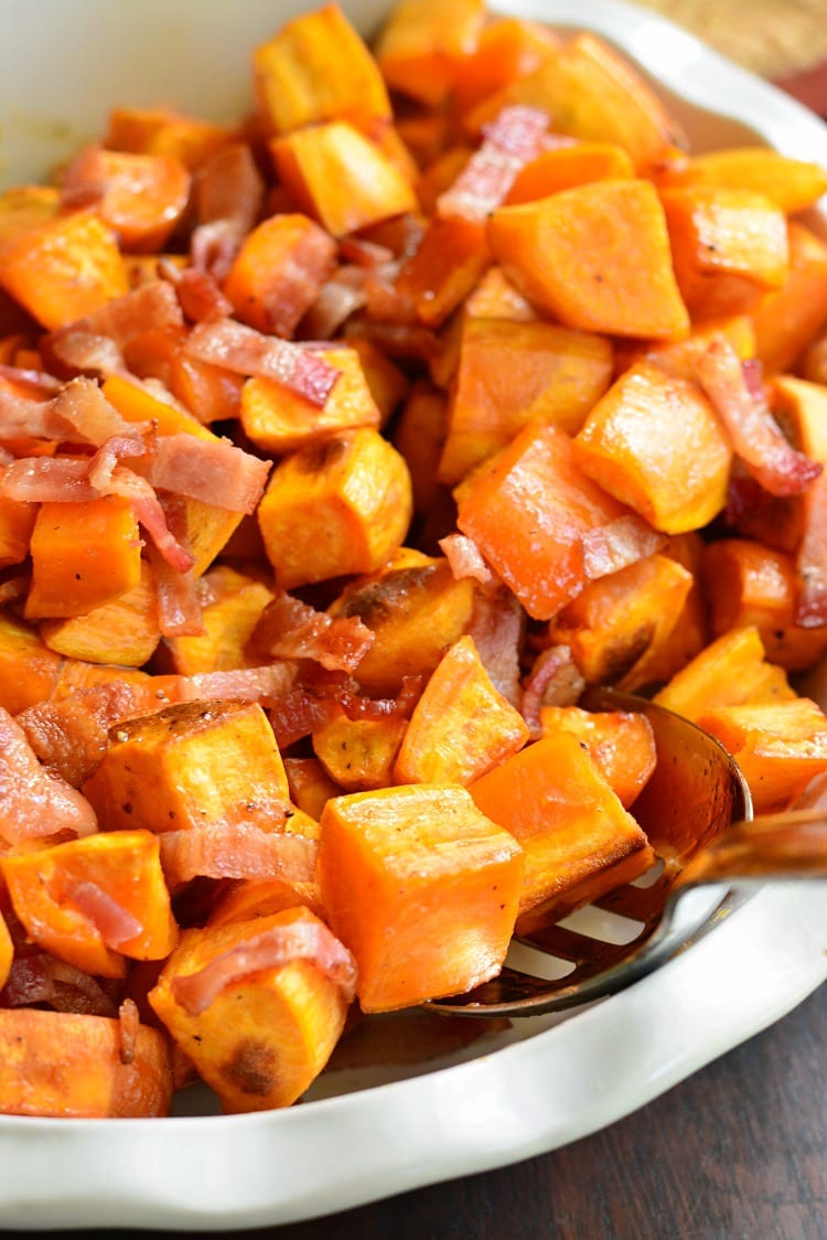 Maple Bacon Roasted Sweet Potatoes