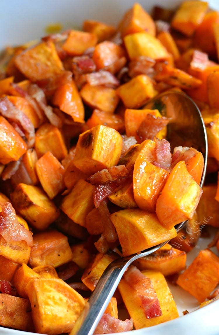 Maple Bacon Roasted Sweet Potatoes - Will Cook For Smiles