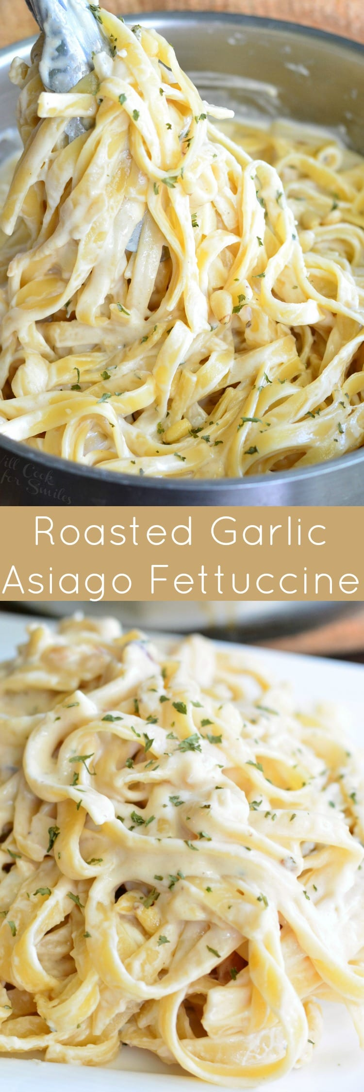 Roasted Garlic Asiago Fettuccine. This fettuccine dish is made with a creamy sauce that features roasted garlic and Asiago cheese. This pasta dish is served with pine nuts and parsley.