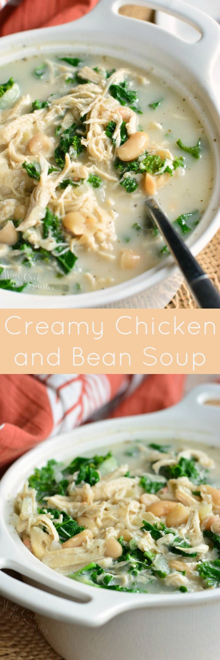 Creamy Chicken and Bean Soup. This creamy soup is actually light and made with shredded chicken breast, two types of beans, and kale. #chickensoup #soup #healthysoup