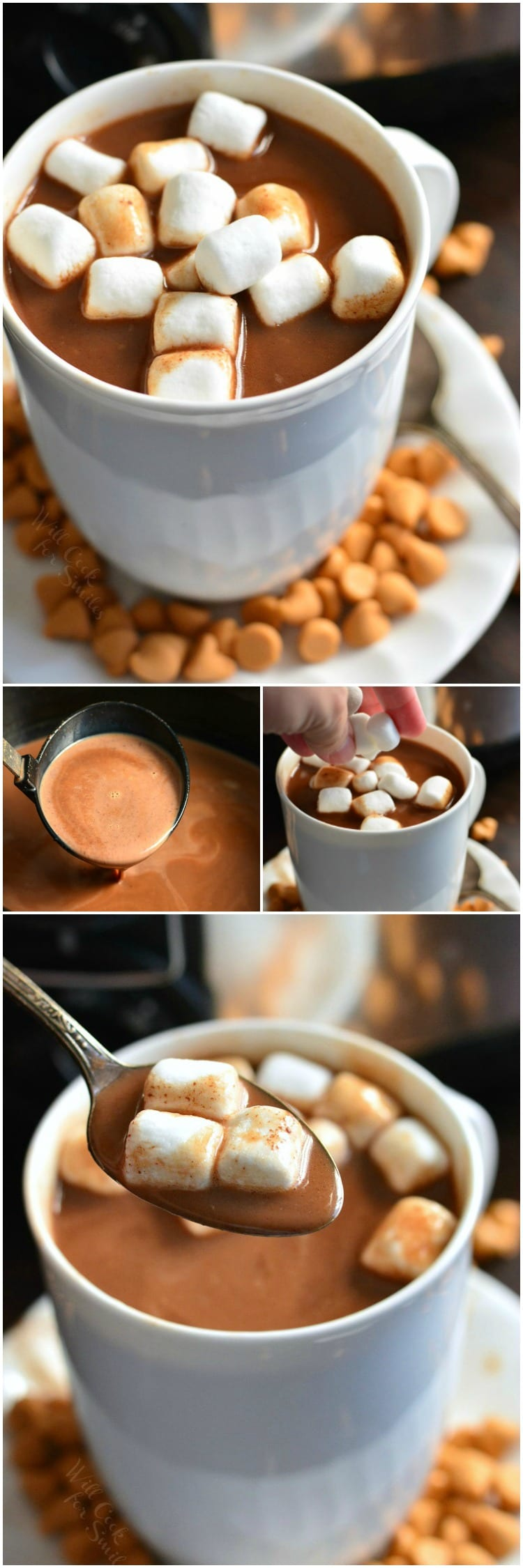 Crock Pot Butterscotch Hot Chocolate. The PERFECT drink to serve at dinners and parties in the cold weather. It's sweet, creamy, and made in a crock pot for convenience. #hotchocolate