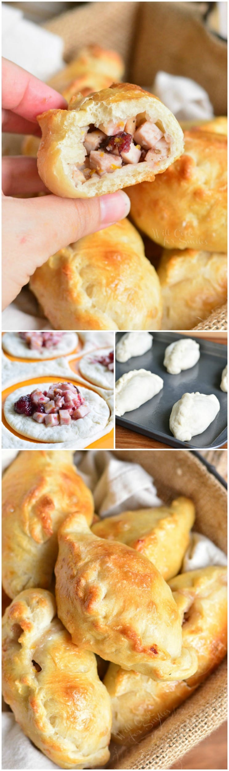 Turkey Cranberry Baked Piroshki collage, first picture is me holding a piroshki in my hand, second is putting the cranberry and turkey on the dough, third is pitoshki in a basket