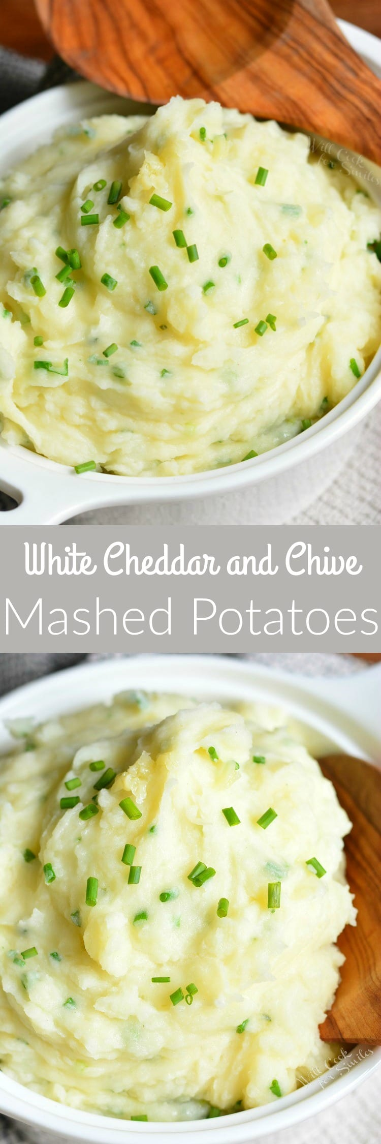 White Cheddar and Chive Creamy Mashed Potatoes. Smooth, fluffy, and creamy mashed potatoes made with Vermont white cheddar cheese and fresh chives adding delightful flavor pop to the dish.