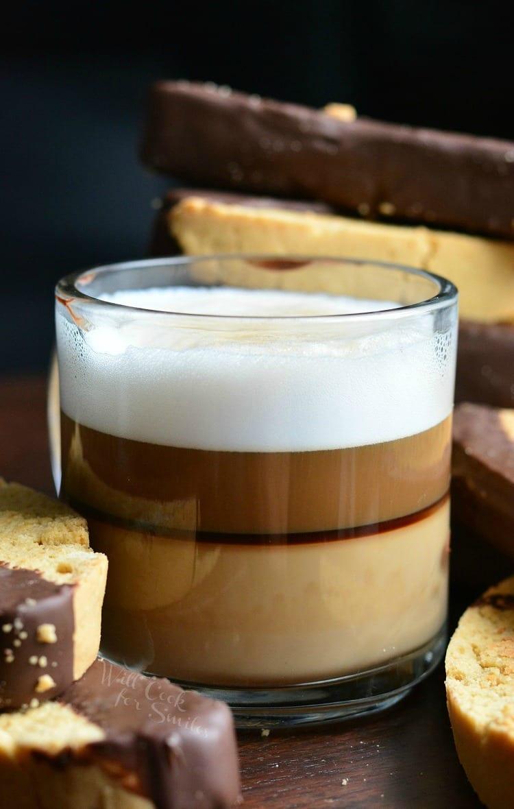 glass of espresso with biscotti
