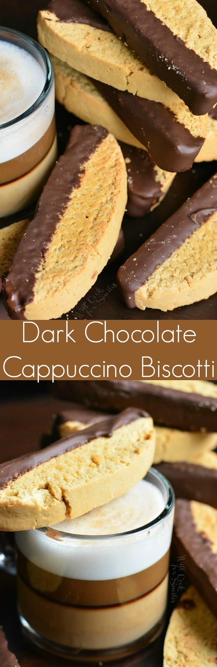 Dark Chocolate Cappuccino Biscotti. Crunchy dark chocolate dipped Cappuccino Biscotti is a cookie worth waking up for and perfect for dunking into a hot cup of coffee.