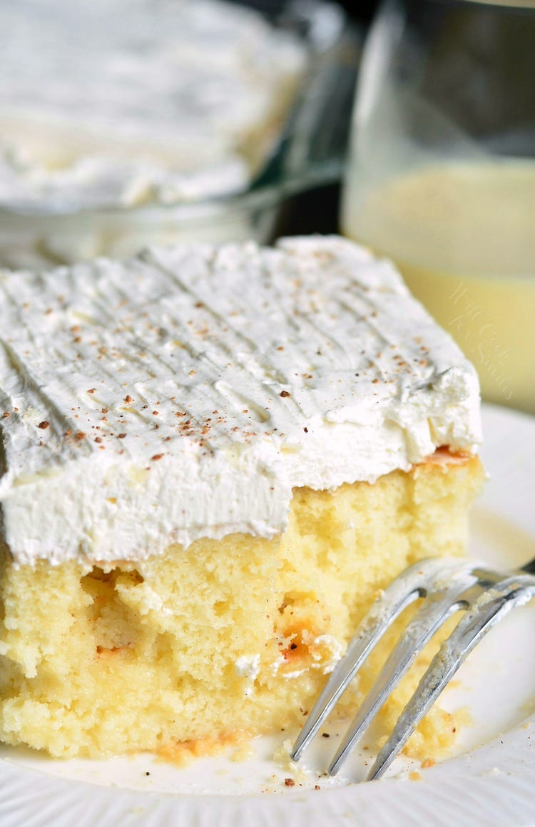 Eggnog Poke Cake! PERFECT easy cake for the season. #pokecake #eggnog willcookforsmiles.com
