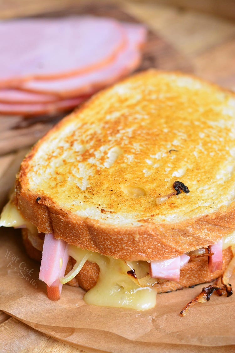Ham and Brie Grilled Cheese Sandwich. from willcookforsmiles.com