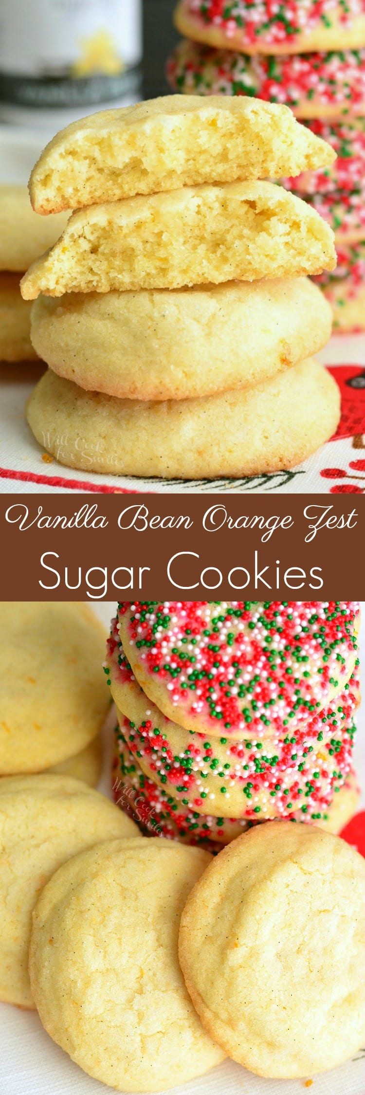 Vanilla Bean Orange Zest Sugar Cookies. These soft and chewy sugar cookies are made with vanilla bean and orange zest. Orange and vanilla flavors in these cookies is exquisite. #sugarcookies