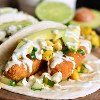 Crispy Fish Tacos with Cucumber Mango Relish