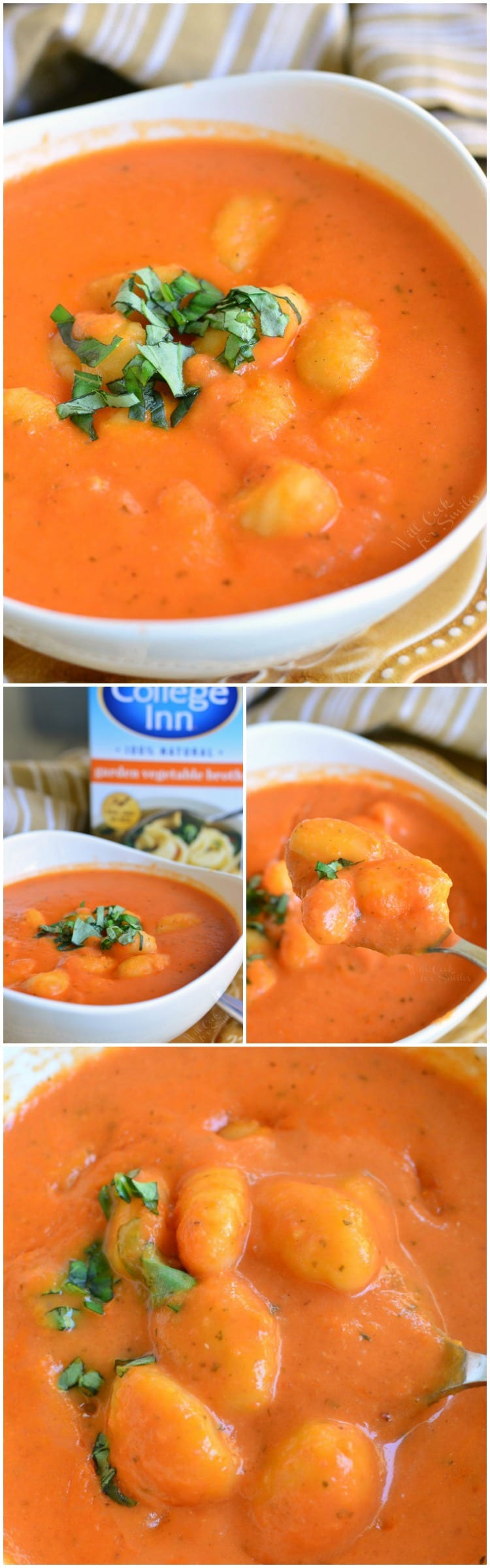 Homemade Tomato Soup with Gnocchi in a bowl collage