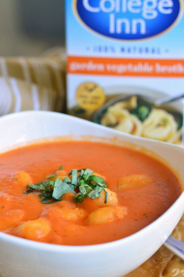 Homemade Tomato Soup with Gnocchi in a bowl