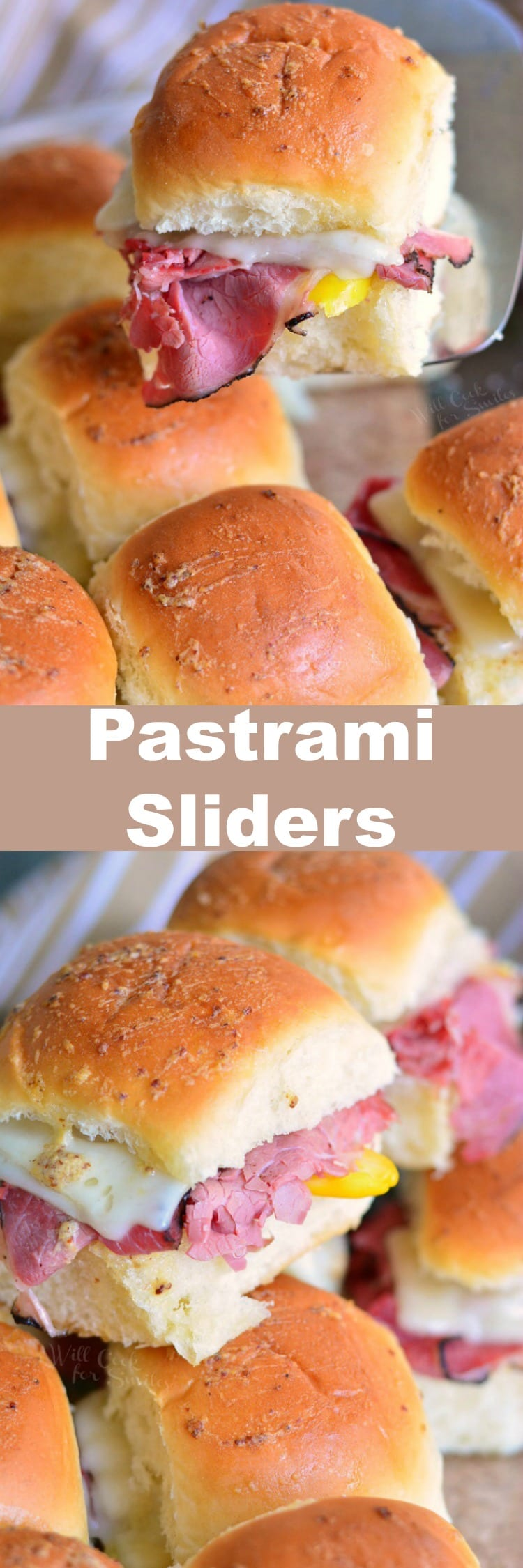 Hot Pastrami Sliders. These pastrami sliders are made with mouthwatering pastrami, gooey cheese, banana peppers, and buttery mustard sauce. #sliders #pastramisandwich
