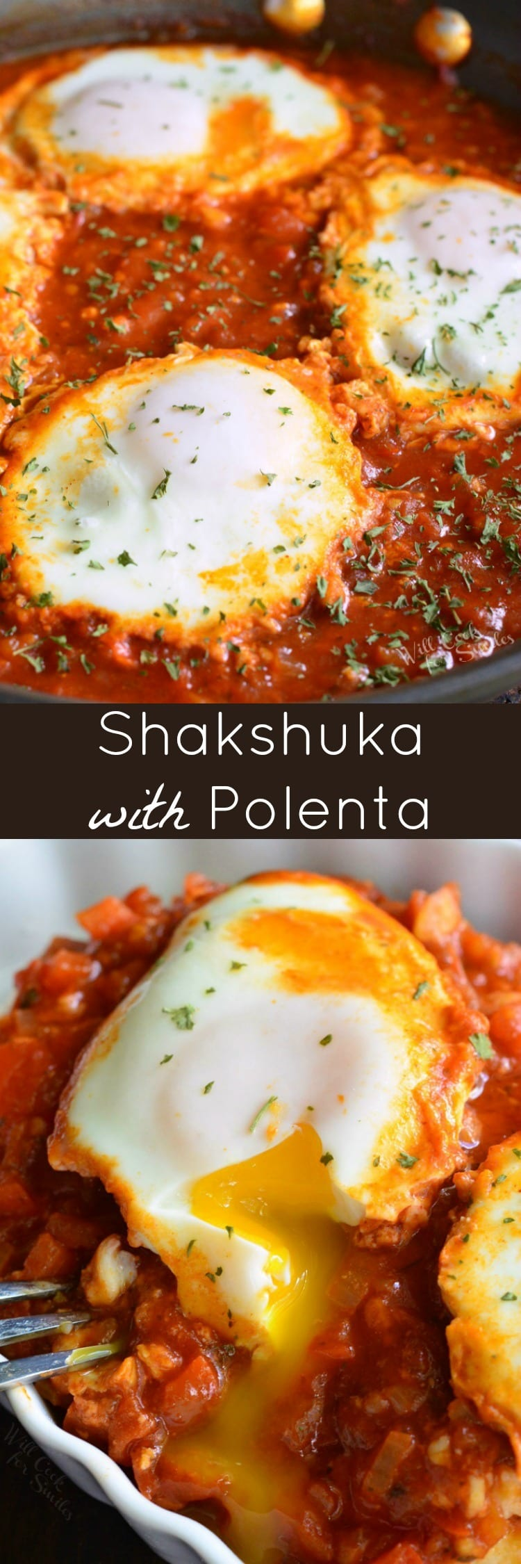 Shakshuka with Parmesan Polenta. Eggs are poached in a delectable mixture of veggies and spices and served over Parmesan cheese flavored polenta. #shakshuka #breakfastrecipe