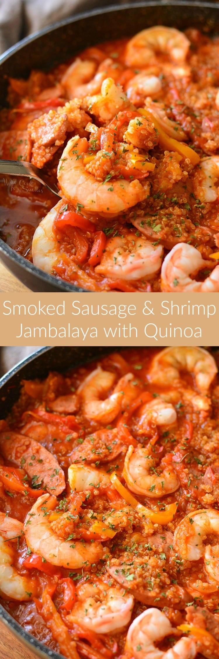 Smoked Sausage and Shrimp Jambalaya with Quinoa. This LIGHT and EASY Jambalaya is made with quinoa, fresh, jumbo shrimp, smoked sausage, veggies, and spiced with Cajun seasoning. #jambalaya #shrimp #sausage #quinoarecipe