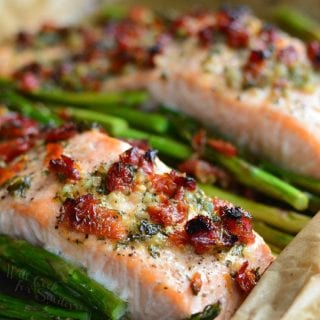 Sun Dried Tomato Lemon Baked Salmon and Asparagus