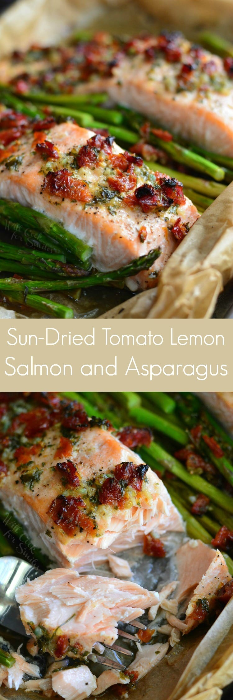 Sun Dried Tomato Lemon Baked Salmon and Asparagus in parchment paper on a baking sheet collage