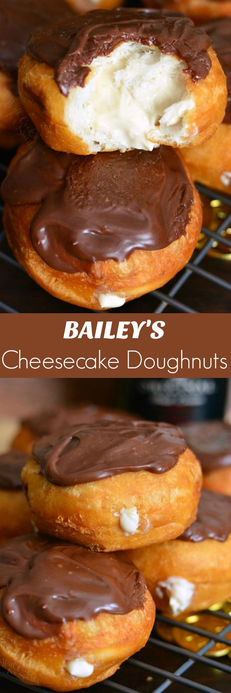 Bailey's Cheesecake Doughnuts. Easy doughnuts are filled with Bailey's cheesecake mixture and topped with Bailey's flavored milk chocolate ganache. #doughnuts #irishcream #baileys