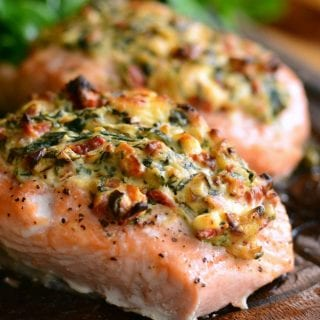 Creamy Spinach and Sun Dried Tomato Stuffed Salmon