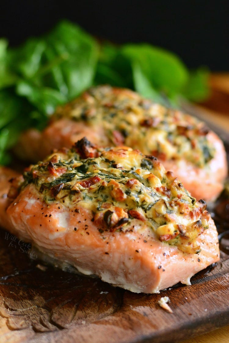 Creamy Spinach And Sun Dried Tomato Stuffed Salmon Will Cook For Smiles