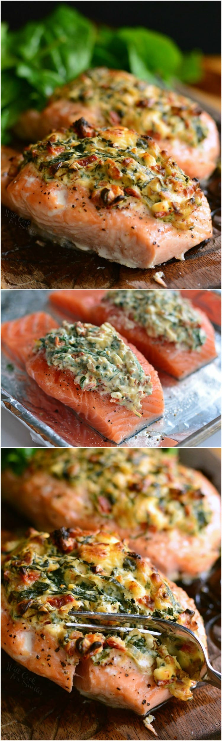 Creamy Spinach and Sun Dried Tomato Stuffed Salmon on a cutting board  and on baking sheet collage