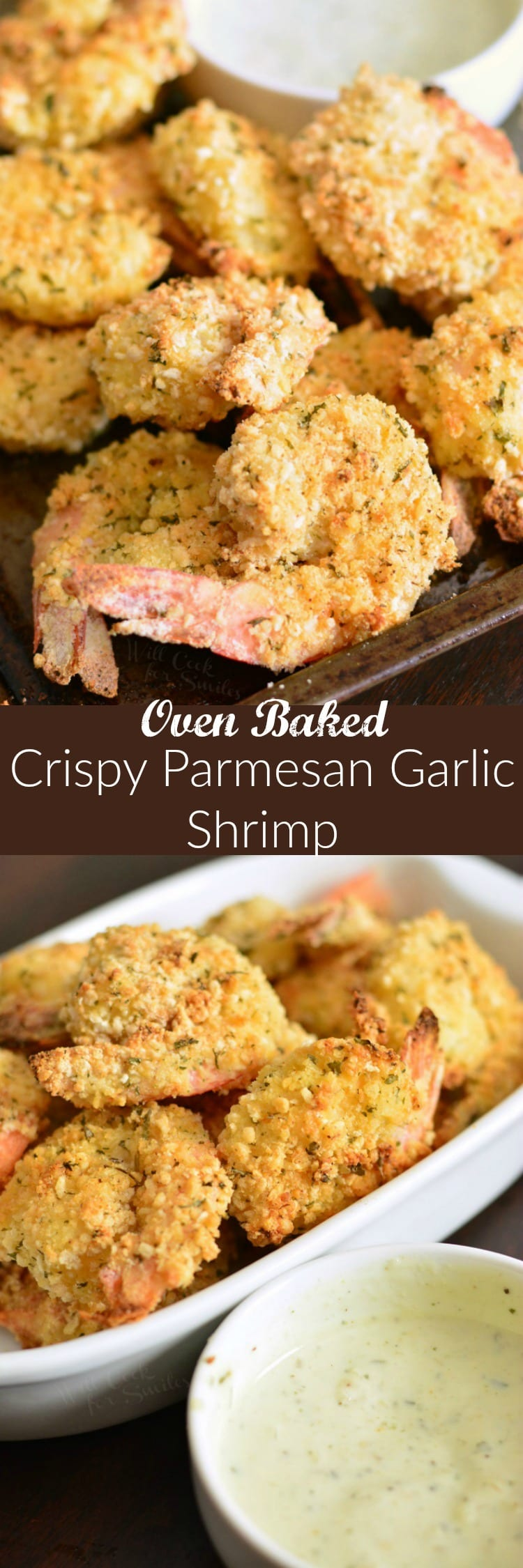 Oven Baked Crispy Parmesan Garlic Shrimp. This simple shrimp dish has a crunchy garlic Parmesan coating and is paired nicely with a garlic avocado ranch for dipping. (CAN be Gluten Free.) #shrimp #crispyshrimp #bakedshrimp #garlicshrimp #ovenbaked
