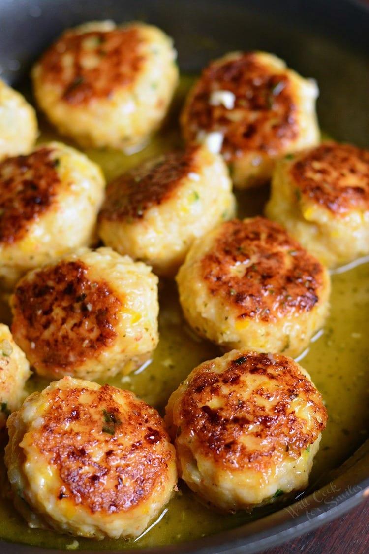 Shrimp Scampi Meatballs in a pan