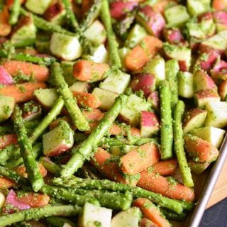 Pesto Roasted Potatoes Carrots and Asparagus