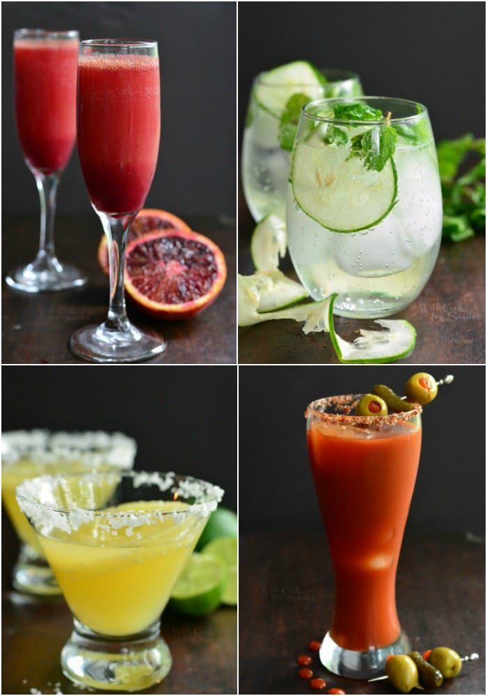 Brunch Cocktails! Here, you will find a Blood Orange Mimosa, Cucumber Mint Gin Cocktail, Spicy Bloody Mary, and Pineapple Margarita. #mimosa #margarita #bloodymary #gincocktail #brunchcocktails