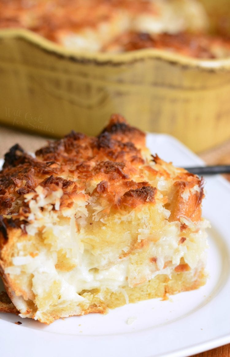 Coconut Cheesecake Bread Pudding. #breadpudding #coconutrecipes #frenchtoastcasserole