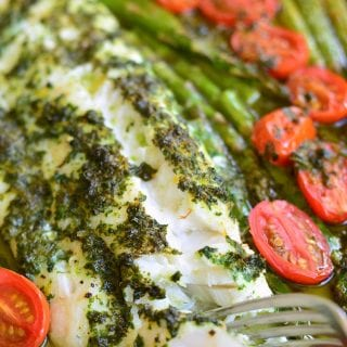 Lemon Herb Butter Cod with Asparagus and Tomatoes