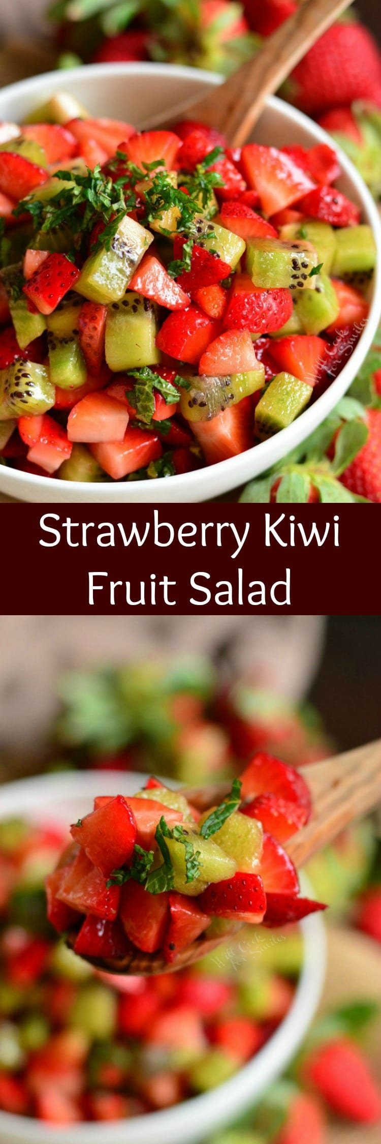 Strawberry Kiwi Fruit Salad in a bowl collage