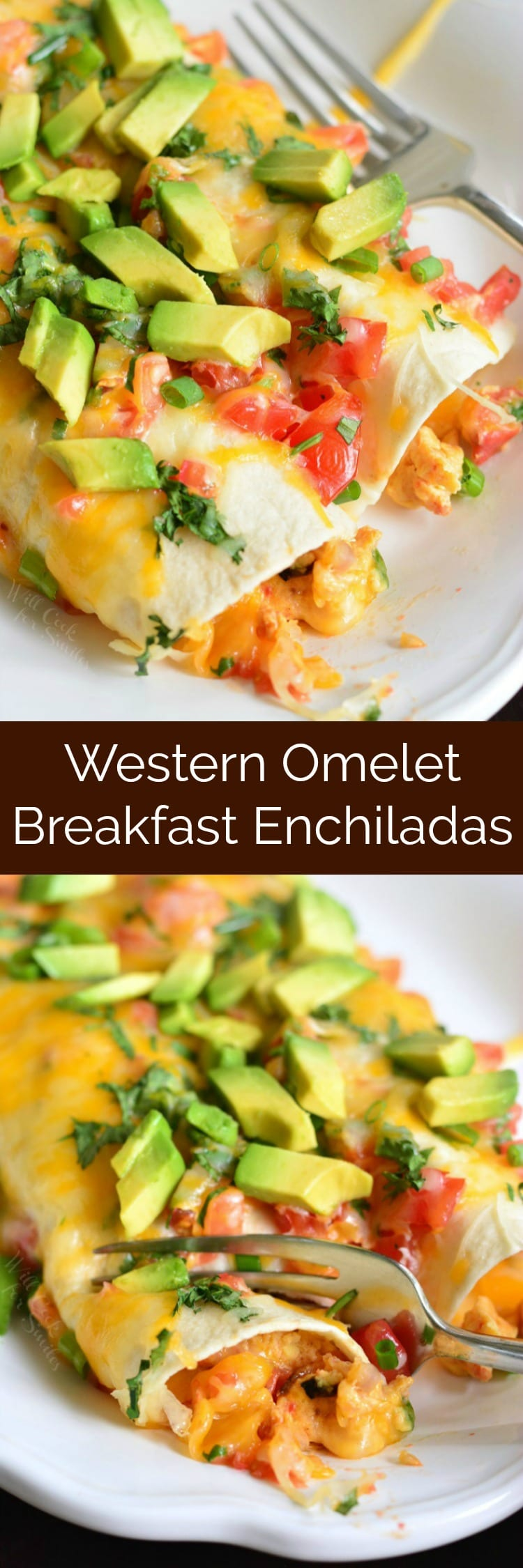 Western Omelet Breakfast Enchiladas. A wonderful breakfast and brunch recipe where soft, fluffy eggs are mixed with veggies and cheese and are rolled in a tortilla and baked with even more cheese and veggies. #enchiladas #breakfastenchiladas #brunchrecipe #eggs