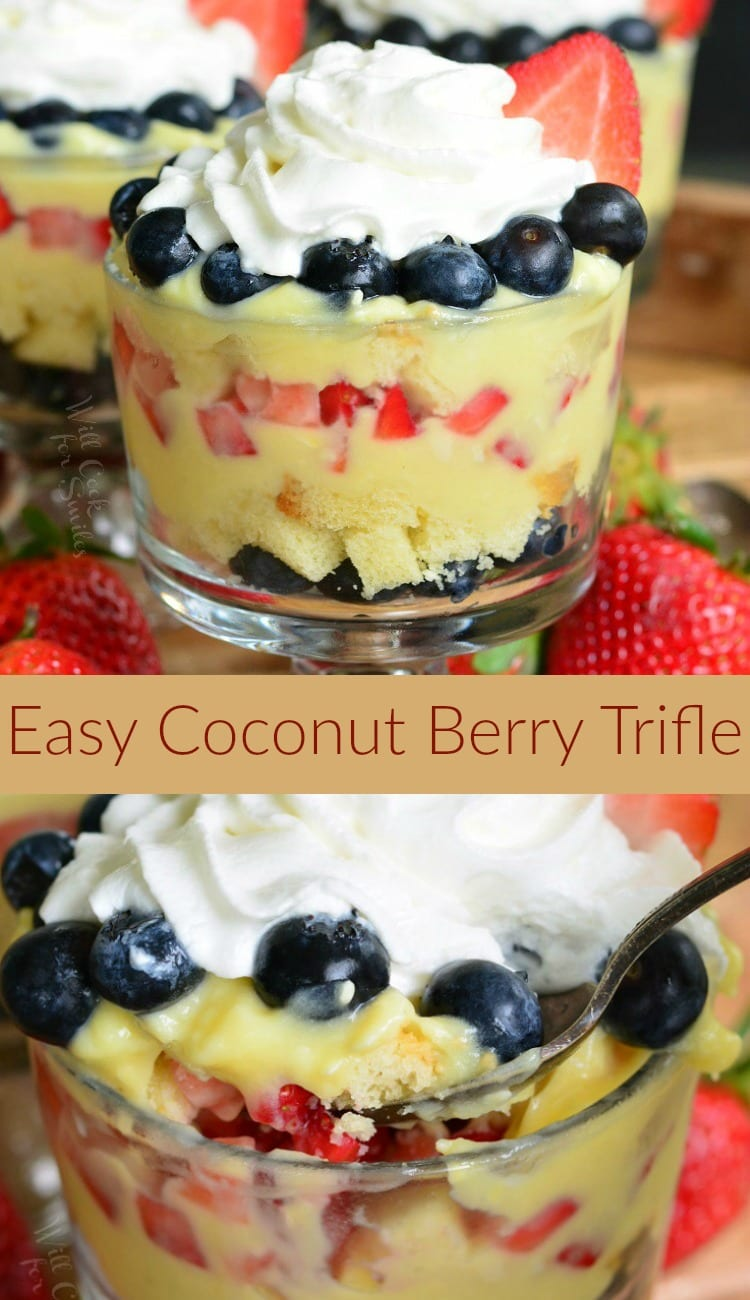 Easy Coconut Berry Trifle. SIMPLE summer trifle dessert and requires no baking time. Delicious trifle with layers of buttery pound cake, fresh berries, and coconut pudding. #nobake #summerdessert #trifle #berrytrifle #redwhiteandbue #blueberry #strawberry