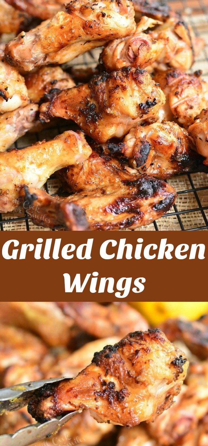 Grilled Chicken Wings stacked up on a cooling rack collage