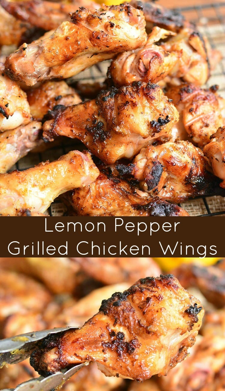 Lemon Pepper Grilled Chicken Wings. Chicken wings and drumettes are marinated overnight in an easy lemon pepper marinade and then, the wings are cooked on the grill to infuse an amazing smokey grilled flavor. #grilled #chickenwings #grilledwings #lemonpepper #bbq #marinade #easymarinade