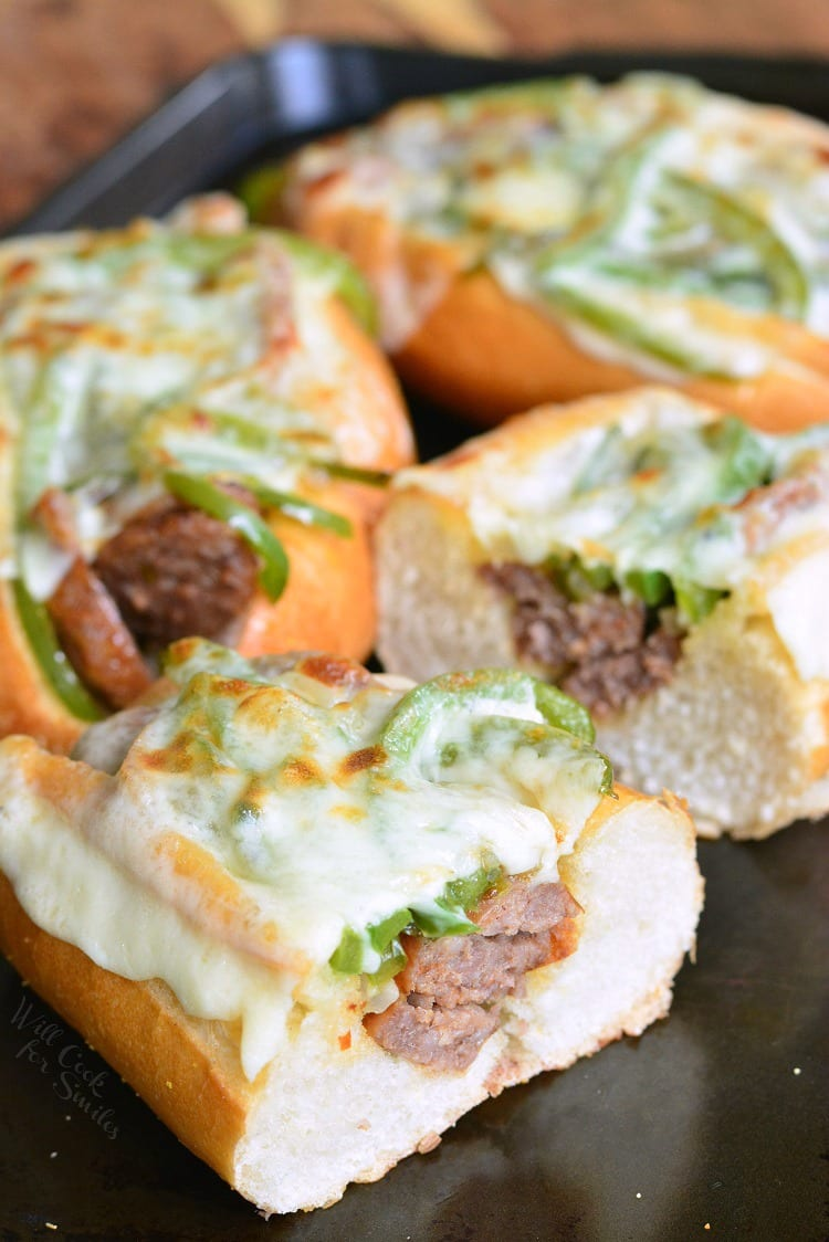 "Philly Cheese ""Steak"" Sausage Hoagies. Classic combination of Provolone cheese, bell peppers, and onion mixed with Italian sausage and served of a deli-fresh hoagie roll. #sausage #hoagies #grill #sandwich #philly"