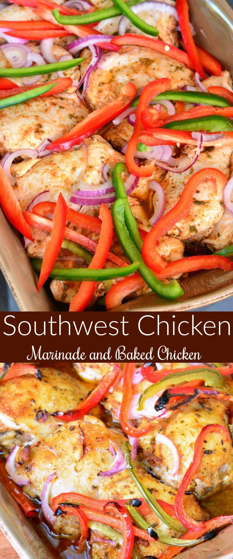 Southwest Chicken Marinade and Baked Chicken collage