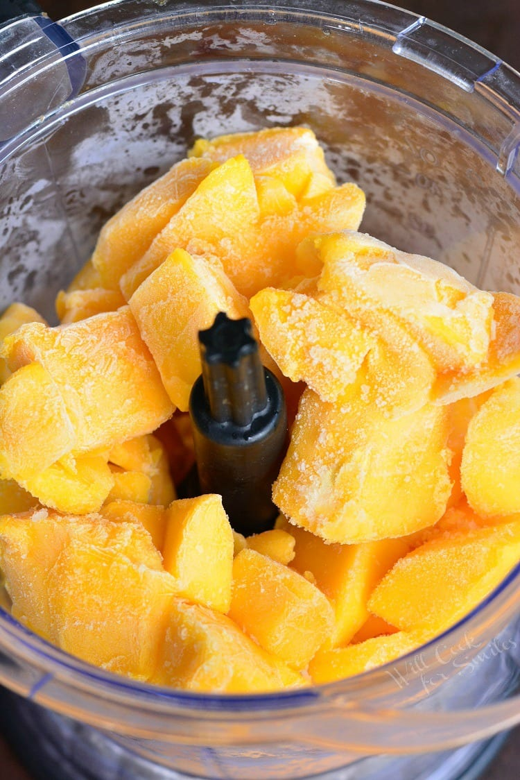 frozen Mango in a food processor