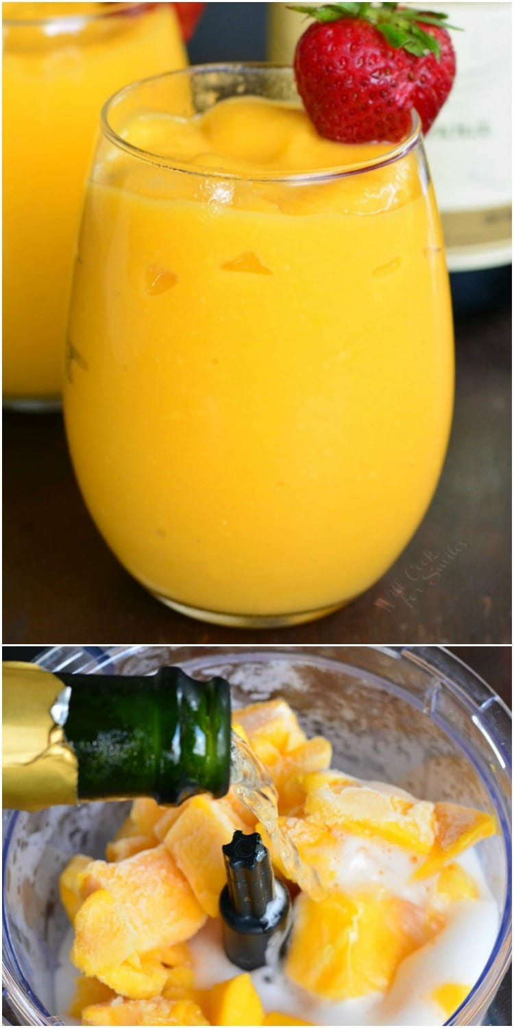 3-Ingredient Mmango Champagne Slushies in a stemless wine glass with a strawberry as garnish