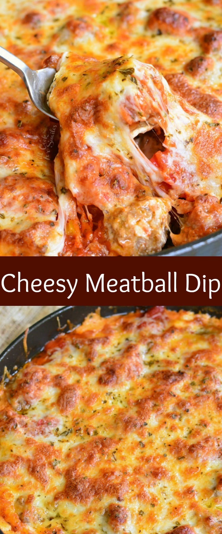 Cheesy Meatball Dip. Amazing hot dip recipe made with homemade, bite-sized meatballs and layers of marinara sauce, cream cheese mixture, veggies, and more cheese. You will fall in love with each creamy, cheesy, meatball filled bite! #dip #hotdip #cheesedip #groundbeef #meatballs #appetizer