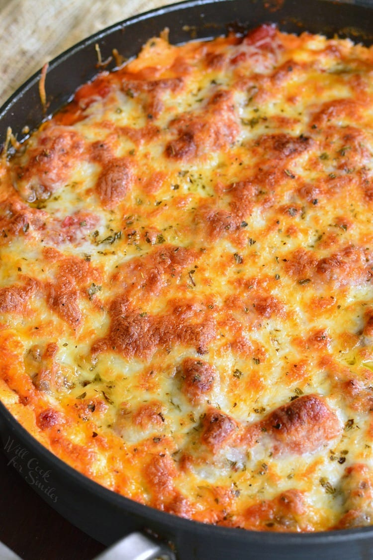 Cheesy Meatball Dip recipe in a pan