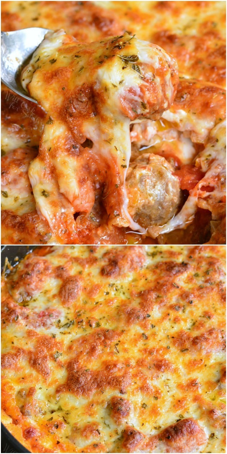 Cheesy Meatball Dip recipe collage