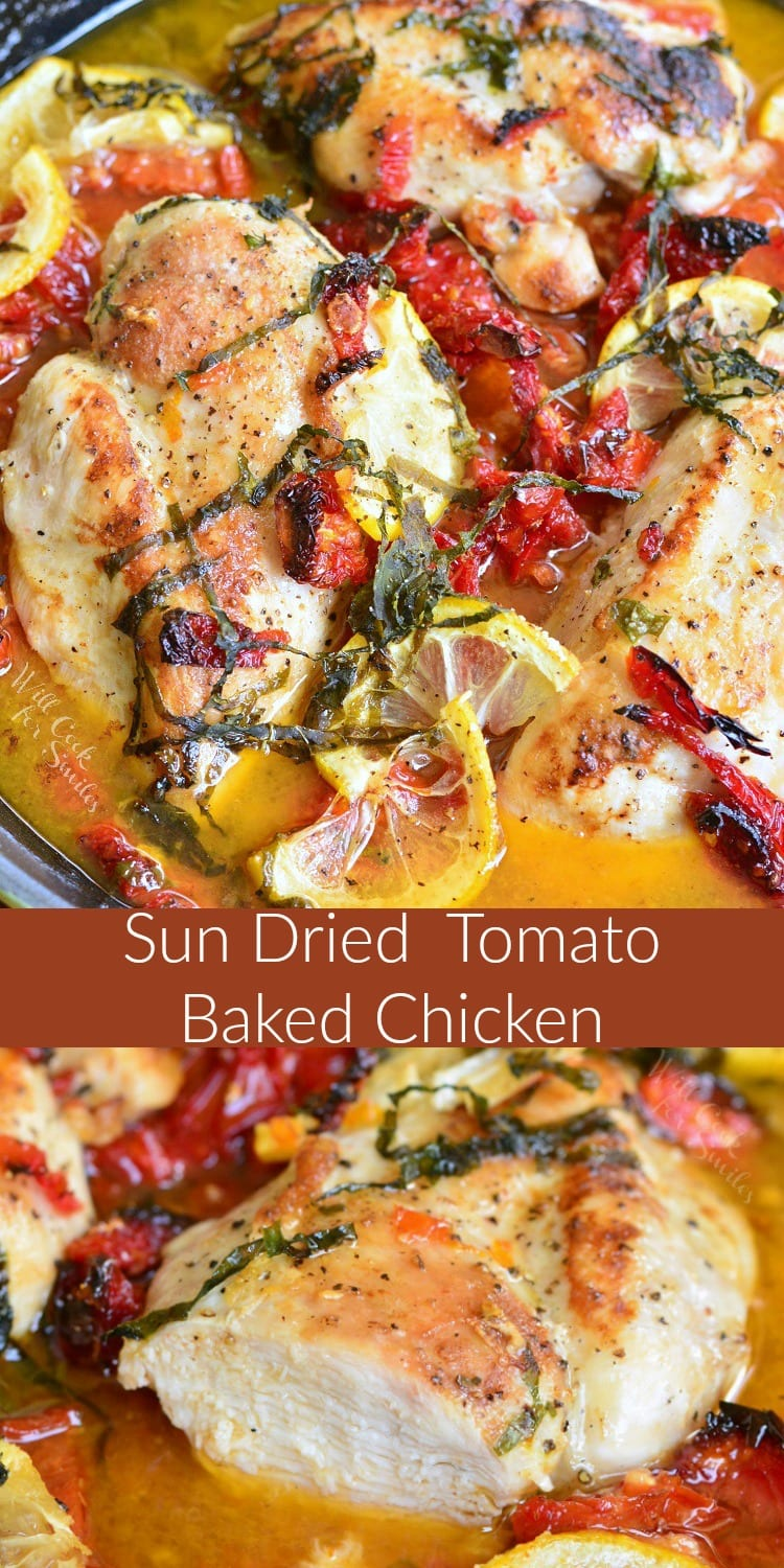 Sun-Dried Tomato Lemon Baked Chicken recipe. Juicy chicken breast is quickly marinated with thelemons, sun-dried tomatoes, and fresh basil, then it'sseared and baked with the same lemon, sun-dried tomatoes, and fresh basil marinade. #chicken #bakedchicken #lemonchicken #tomatochicken #sundriedtomatoes #easydinner #easyrecipe