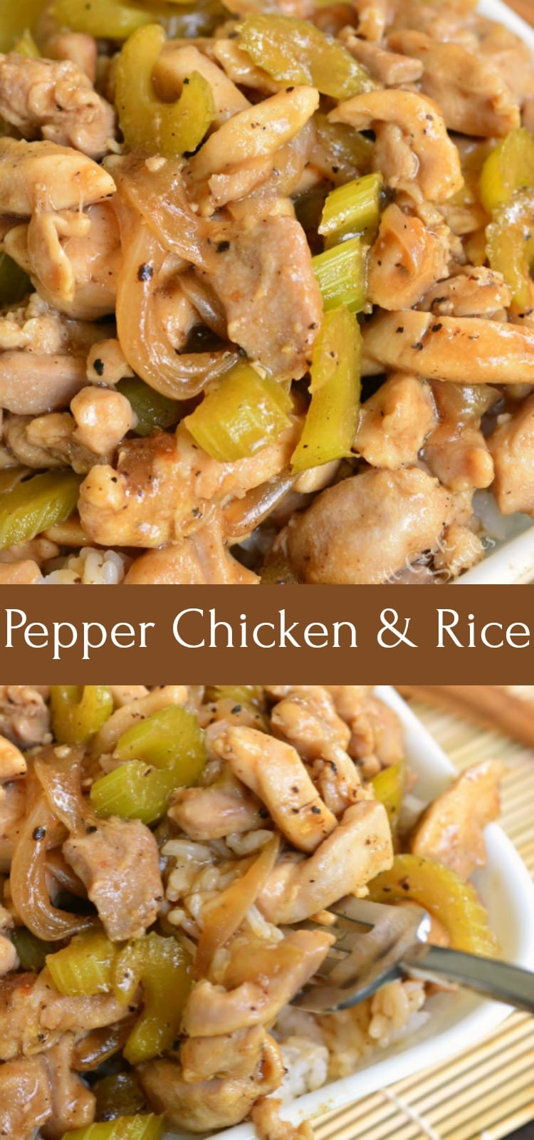 collage of cooked pepper chicken
